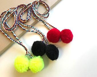 "Multi-color Big 2""pompom 40"" cotton TASSEL CORD STRING"