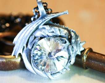 Crystal Dragon Necklace Dragon Jewelry Pewter Dragons Swarovski Crystal Oxidized Sterling Silver Necklace