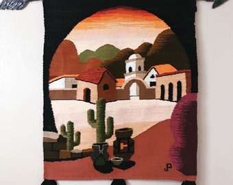 Vintage Desert Mission Woven Wall Hanging