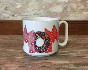 MOM Patchwork Mug Vintage 1970s 1980s Mother's Day