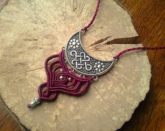 Burgundy Moon macrame necklace silver macrame silver moon and wine macrame necklace