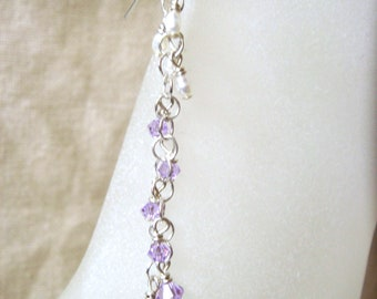 Sterling Silver Earrings, Swarovski Crystal Earrings, Cultured Freshwater Pearl Earrings, Violet Purple, Wedding Bride, Dangle Pierced, Prom
