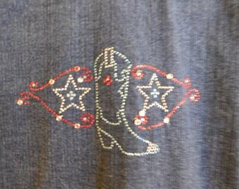 Vintage Denim Jacket by Daniel K., Embellished on Back, Size Medium