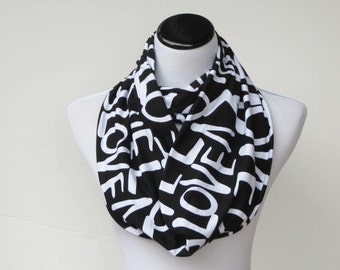 Valentine's day Scarf Black White Scarf Infinity Scarf Love scarf circle scarf loop scarf Valentine's day gift for women and teen girls