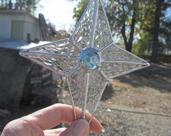 Christmas Star, Glass Ornament, Christmas Ornament, Clear Glass Ornament,Stained Glass Ornament, Suncatcher