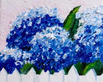 Hortensien blau Original Ölgemälde-Öl-8 x 8-Leinwand-Home Decor-Geschenk-Hochzeit Geschenk-Impasto-Cottage-Impasto-Ton Töpfe-Blumenmalerei