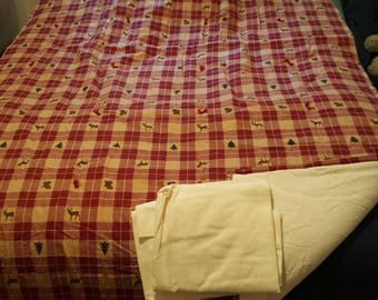 Marroon Plaid Buck print with Ivory Back & Ivory pillow Cases Flannel Quilt