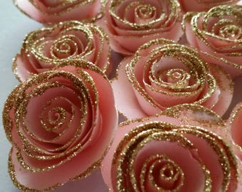Pink and Gold Rose, Pink and Gold Party, First Birthday, Paper Rose, Pink and Gold, Baby Shower, Bridal Shower, Tea Party, Mothers Day Rose
