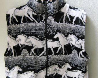 Kids Black and White Horse Fleece Zipper Vest  Kids Coat, Fleece Vest , Kids Fleece Vest, Boy Toddler Vest, Girl Toddler Vest