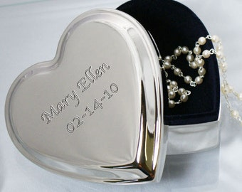 Engraved Name Silver Heart Jewelry Box -gfy8531940