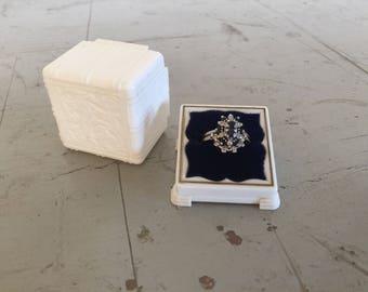 Vintage White Ring Box with Blue Velvet Interior