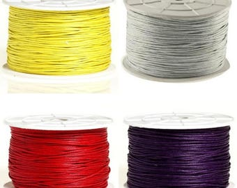 20 / 50 / 100 m cotton wax 1 mm yellow - grey - red - purple