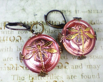 Dragonfly Earrings Coral Pink Czech Glass Buttons Oxidized Brass Dragonfly Jewelry