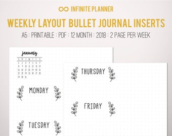 Weekly Layout, 2 page, 12 Month, (2018) - Bullet Journal Printable