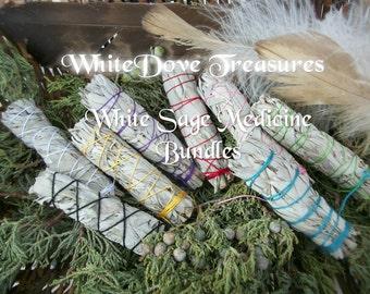"White Sage Smudge Bundle ~ White Sage Wand  4""-6"" Gift Wrap Color Chart Instruction"