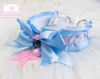 Baby Blue and Pink Star Twinkle Kitten Play Collar, Kitten Play Collar, Pet Play Collar, Choker, Adult Kitten Play Collar, BDSM Collar