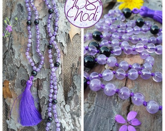 Japa Mala 108 beads, Hand Knotted, 6mm Amethyst and 8 mm Onyx Beads