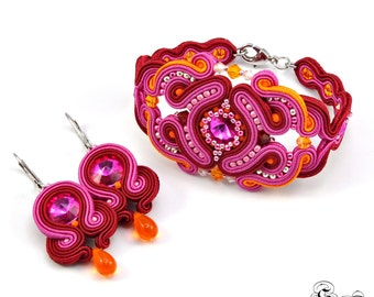 Oriental Jewelry, Oriental Soutache Set, Burgundy Soutache Jewelry, Set of bracelet and earrings, Dangle Earrings, Burgundy Dangle Earrings