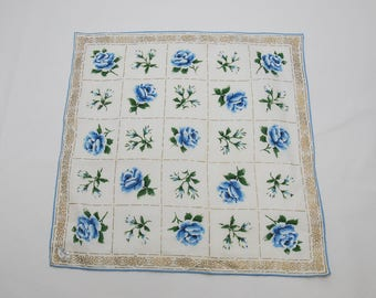 Vintage Burmel Original Irish Linen Blue Roses And Gold Trim Handkerchief (c. 1950's-60's) Elegant Floral Large Size Handkerchief, Gift Idea