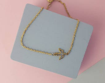 Minimal simple brass bird bracelet