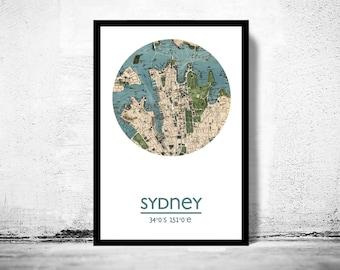 SYDNEY - city poster - city map poster print