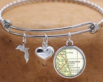 St Augustine Florida Map FL State Charm Bangle Bracelet Personalized Custom Vintage Map Jewelry Stainless Steel Bracelet