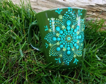 Green Teal mandala mug, green mandala mug, teal Mandala mug, dot art mandala mug, Mandala mugs, Mandala polkadot mug, mandala gift