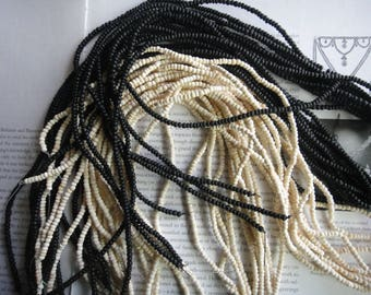 white, black, red, 4mm tumbeld coconut heishi beads,  15.5 inch strand