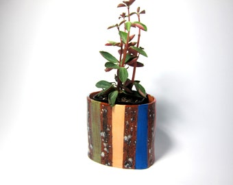 Colorful Oval Striped Ceramic Planter//Clay Planter/Great gift for plant lovers/Cute and Clay