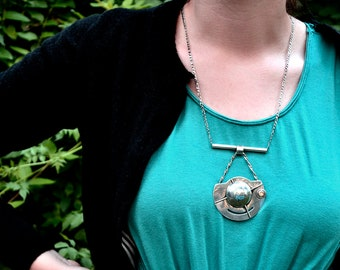 Sterling Silver Necklace with Geometric Pendant and Yellow Chalcedony Stone One of a Kind