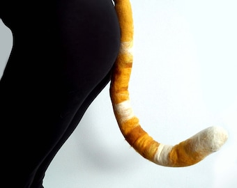 Ginger Cat Tail, long bendable hand felted fancy dress cosplay accessory with belt loop