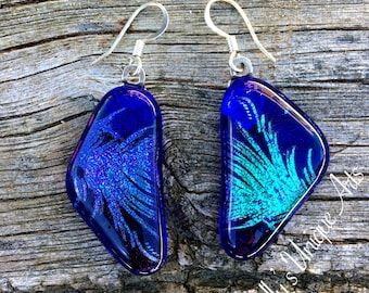 Blue Dichroic Glass Statement Earrings