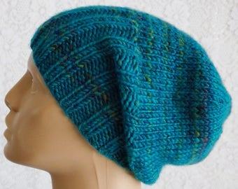 Blue tweed slouchy hat, watch cap, brimmed beanie hat, mens womens knit hat, blue hat, toque, winter hat, chemo cap, ski toboggan hiking hat