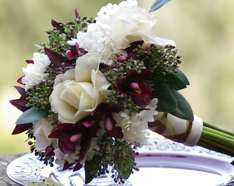 Silk Orchid Garden Wedding Bouquet hand tied Greenery Deep Plum