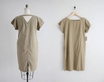 open back dress | vintage esprit dress | army green cotton dress
