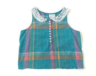 Vintage Plaid Baby Doll Collar Crop Top