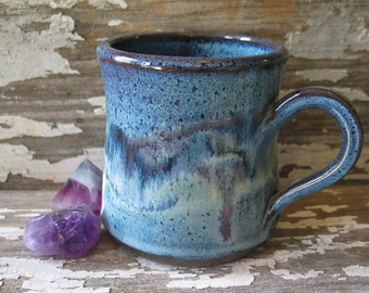 Handmade Pottery Mug - Watercolor Blue - Violet - Sage Green - Amethyst - Stoneware Mug - Coffee Cup - Tea - IN STOCK