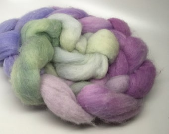 Merino Roving   Hand dyed   hyacinth, purple, moss