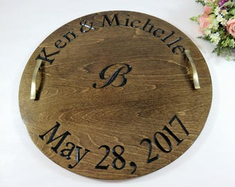 Wine Serving Tray - Wine Barrel Tray - Wood Serving Tray - Custom Serving Tray - Personalized Tray - Ottoman Tray - Engraved Tray - Gift