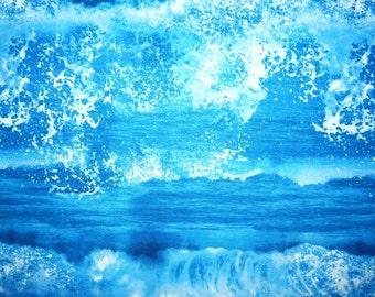Fabric - Sea waves and splash printed cotton fabric.