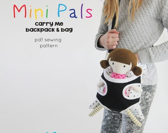 Mini Pals Carry me backpack messesnger bag soft rag doll sewing pattern pdf carrier