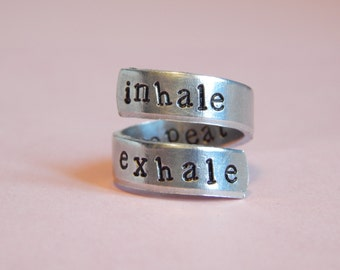 Inhale Exhale Repeat Yoga Inspired Wrap Ring Hand Stamped Gift Under 20