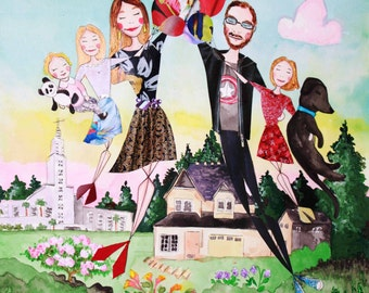 Large Custom Family Portrait - Mixed Media Painting - Tell Where You Have Been