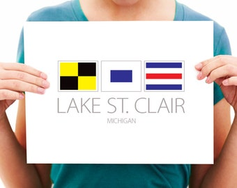 Lake St. Clair, Michigan - Nautical Flag Art Print - 8x10 or 11x14