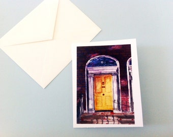 Watercolor Card - Dublin Georgian Door #2