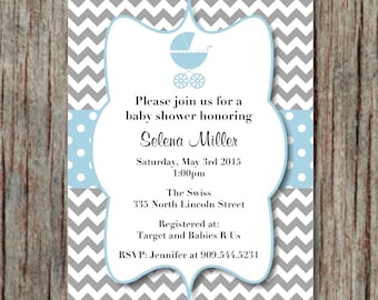 Baby Shower Invite Baby Carriage Stroller Boy Powder Blue Grey Printable Editable Invites Instant Download Invitations 5x7 - 004