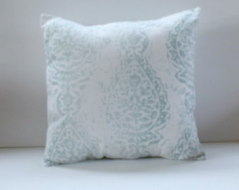 Manchester Snowy Floral Pillow Cover- Snowy Blue and White Decorative Couch Pillow 18x18- Ready to Ship