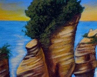 Bay of Fundy Rocks, Original Acrylic Painting 16 x 20