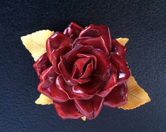 Vintage Dimensional Rose Resin Brooch, Brick Red Rose Brooch, OOAK Brooch, Retro, 1970's