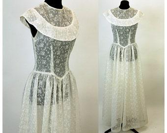 1940s wedding dress, organza dress, white eyelet dress, Broderie Anglaise, sheer dress, full length , portrait collar, drop waist, Size S/M